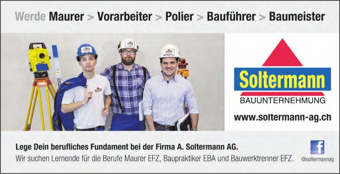 Lernende für die Berufe Maurer EFZ, Baupraktiker EBA und Bauwerktrenner EFZ, Soltermann AG, gesucht