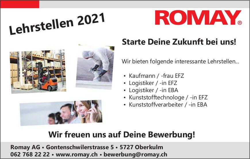Wir bieten folgende interessante Lehrstellen..., Romay AG, Oberkulm