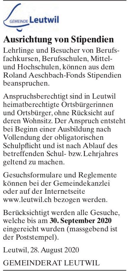 Leutwil - Ausrichtung von Stipendien