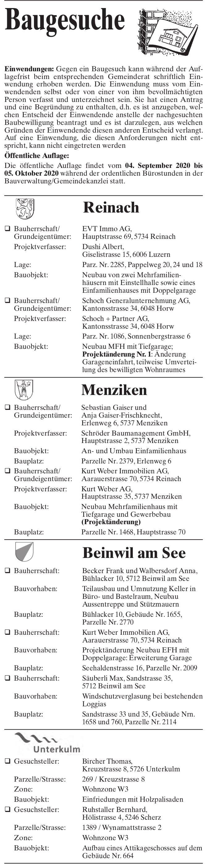 Baugesuche, Reinach, Menziken, Beinwil am See & Unterkulm - Baugesuche
