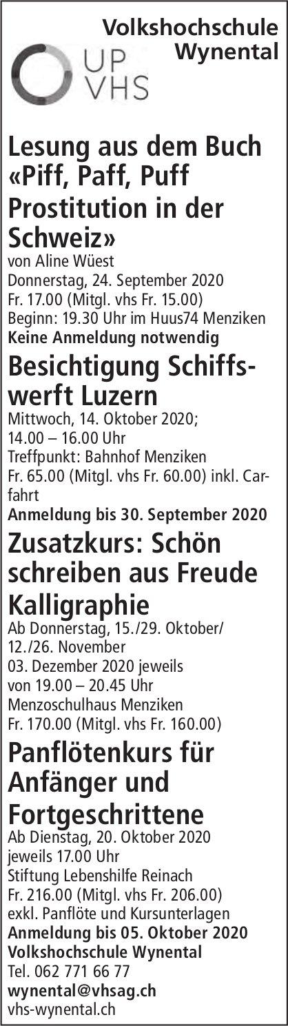 Veranstaltungs-Programm, 24. September - 3. Dezember, Volkshochschule Wynental