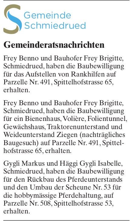 Schmiedrued - Gemeinderatsnachrichten