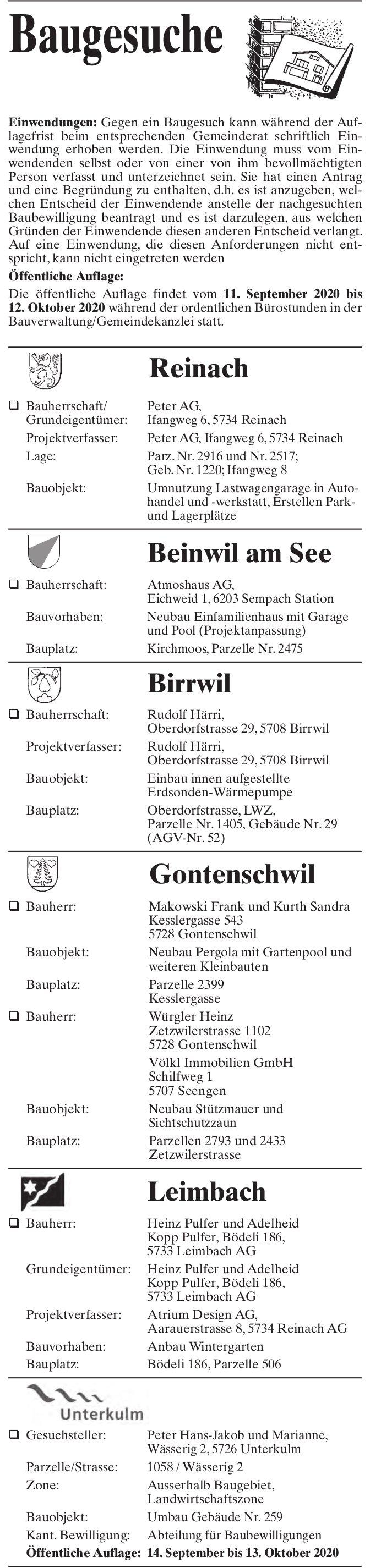 Baugesuche Reinach, Beinwil am See, Birrwil, Gontenschwil, Leimbach & Unterkulm