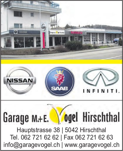 Garage M. + E. Vogel, Hirschthal - Nissan, Saab & Infiniti
