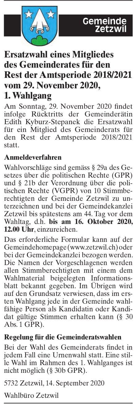Zetzwil - Ersatzwahl eines Mitgliedes des Gemeinderates