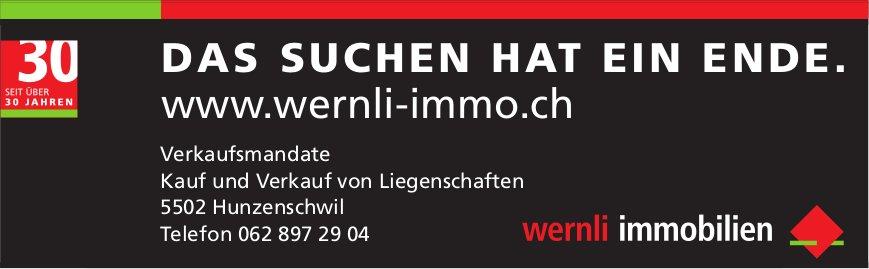 Wernli Immobilien, Hunzenschwil - Das Suchen hat ein Ende