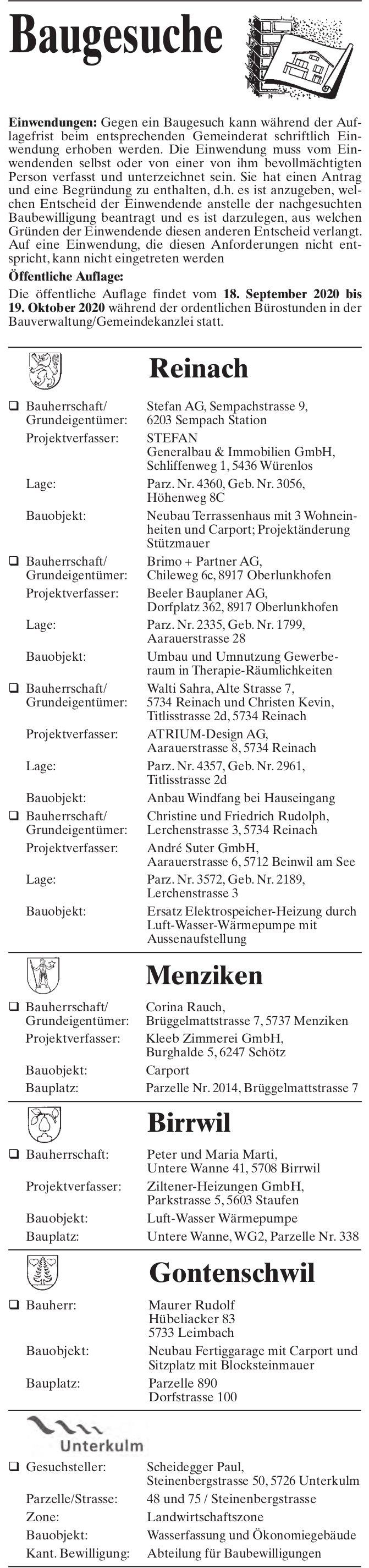 Baugesuche Reinach, Menziken, Birrwil, Gontenschwil & Unterkulm