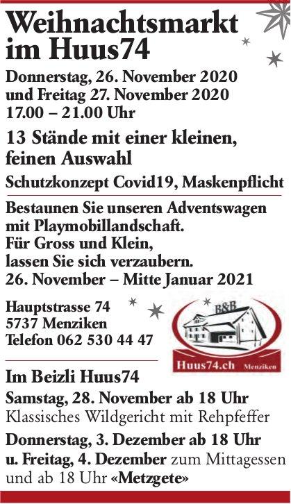 Weihnachtsmarkt im Huus74, 26. November - 4. Dezember, Menziken