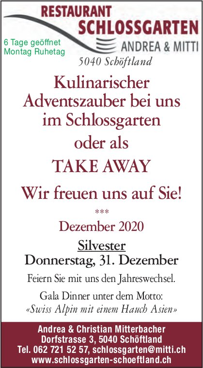 Restaurant Schlossgarten, Schöftland - Kulinarischer Adventszauber bei uns im Schlossgarten oder als TAKE AWAY