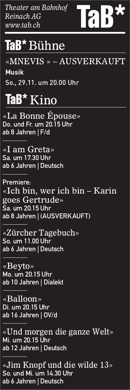 Theater- und Kinoprogramm,  TaB, Reinach