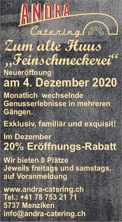 """Neueröffnung - Zum alte Huus """"Feinschmeckerei"""", 4. Dezember, Menziken"""