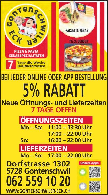 Gontenschwiler Eck, Gontenschwil - Bei jeder Online oder App Bestellung 5% Rabatt