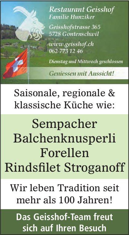Restaurant Geisshof, Gontenschwil - Sempacher Balchenknusperli, Forellen,  Rindsfilet Stroganoff