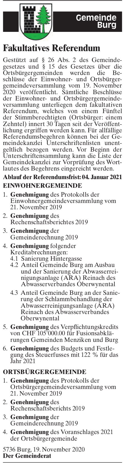 Burg - Fakultatives Referendum