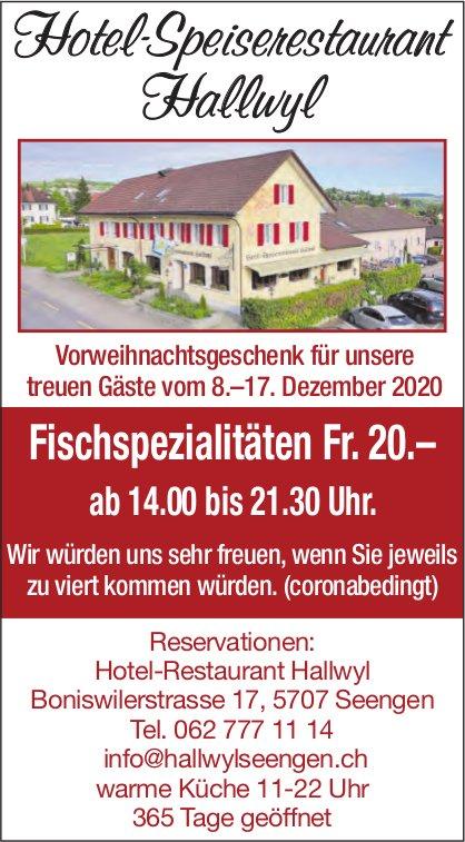 Hotel - Speiserestaurant Hallwyl, Seengen - Fischspezialitäten Fr. 20.–