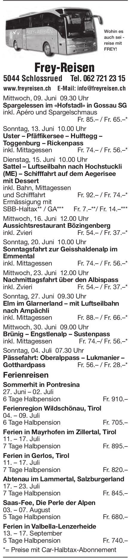 Reiseprogramm, 9. Juni - 17. September, Frey-Reisen, Schlossrued