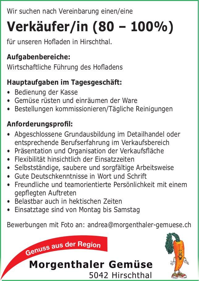 Verkäufer/in (80 – 100%), Morgenthaler Gemüse, Hirschthal, gesucht