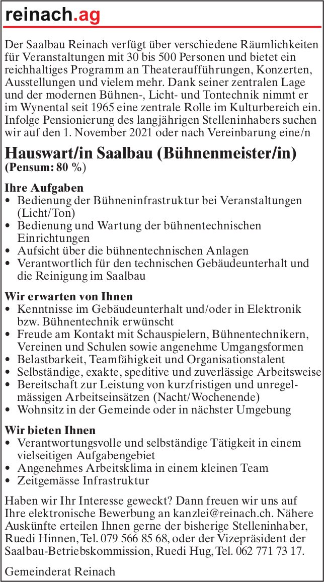 Hauswart/in Saalbau (Bühnenmeister/in), Saalbau, Reinach, gesucht