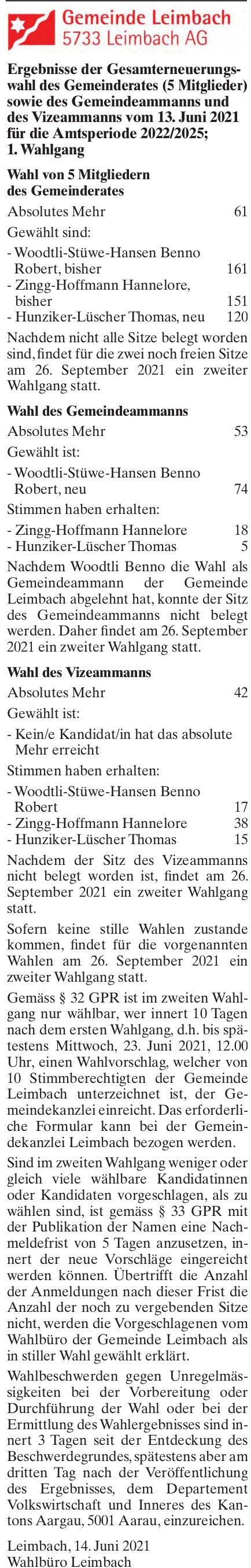 Leimbach AG - Ergebnisse der Gesamterneuerungswahl des Gemeinderates (5 Mitglieder) sowie des Gemeindeammanns und des Vizeammanns; 1. Wahlgang