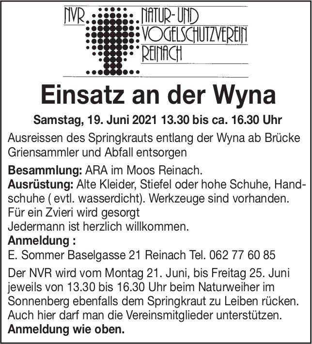 Einsatz an der Wyna, Natur- und Vogelschutzverein, 19. Juni, ARA im Moos, Reinach