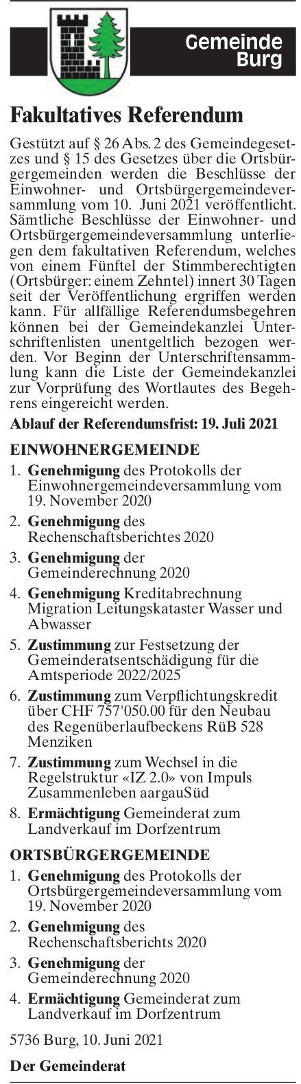 Burg - Fakultatives Referendum