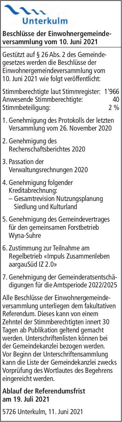 Unterkulm - Beschlüsse der Einwohnergemeindeversammlung