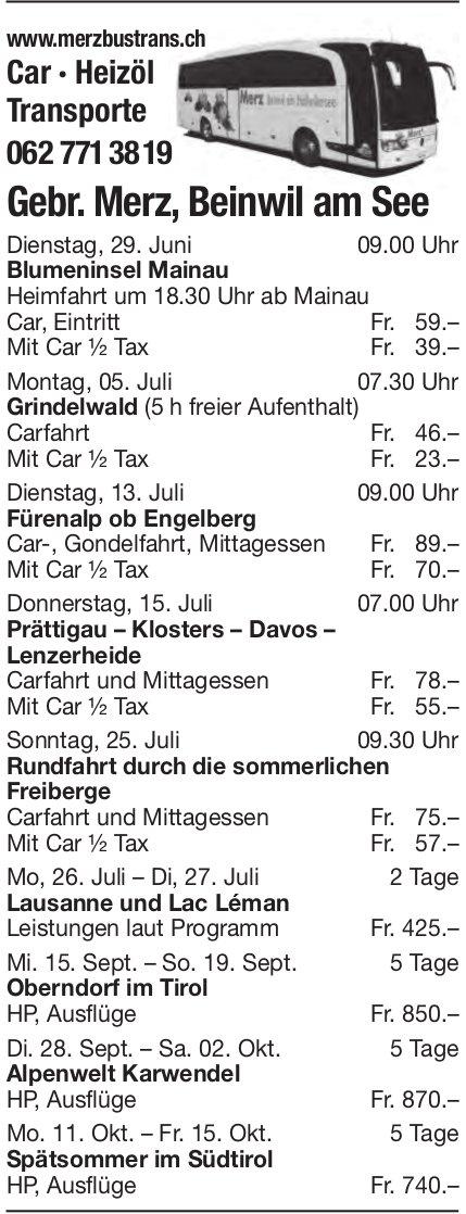 Reiseprogramm, 29. Juni - 15. Oktober, Gebr. Merz Transporte, Beinwil am See