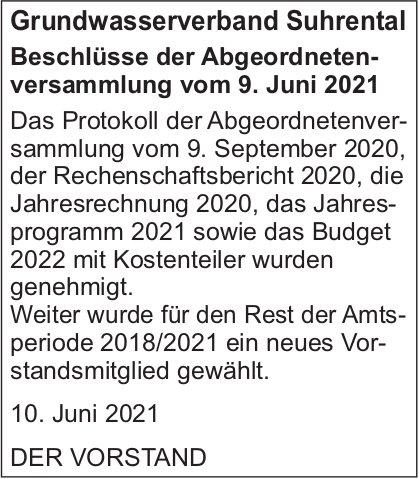 Grundwasserverband Suhrental - Beschlüsse der Abgeordnetenversammlung