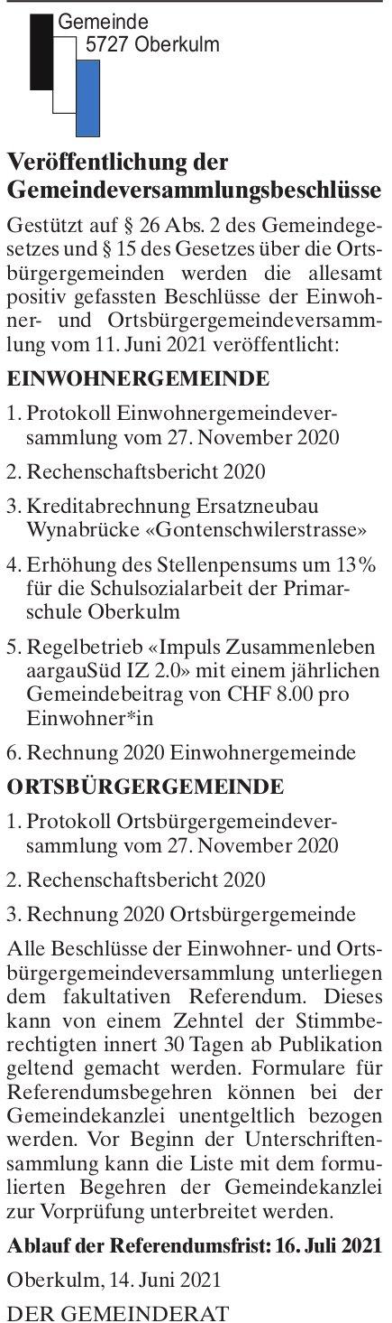 Oberkulm - Veröffentlichung der Gemeindeversammlungsbeschlüsse