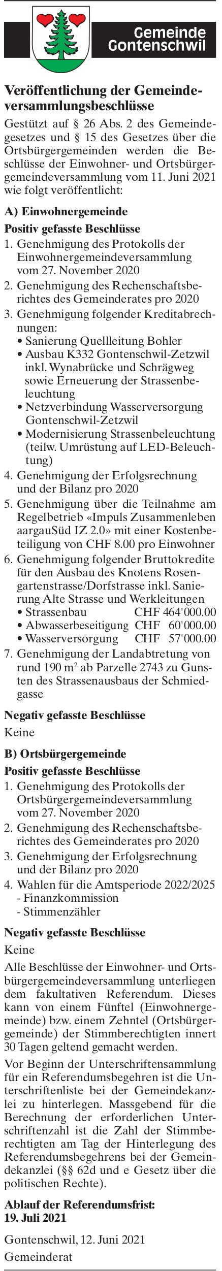 Gontenschwil - Veröffentlichung der Gemeindeversammlungsbeschlüsse