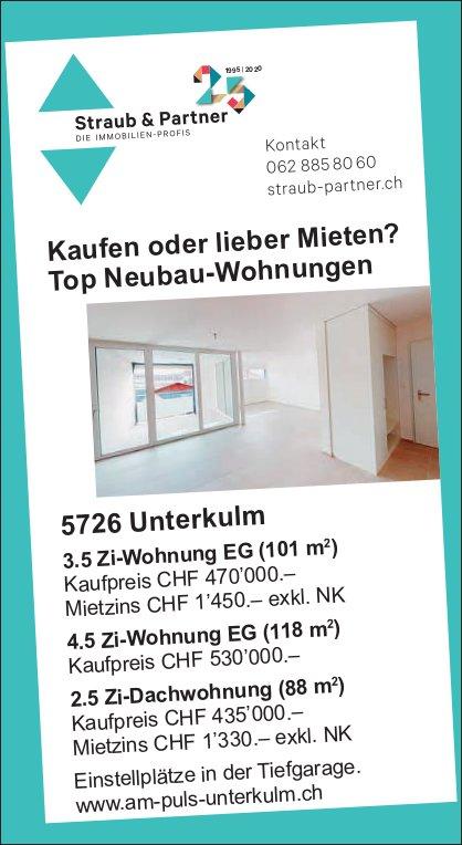 2.5- bis 4.5-Zimmer-Wohnungen, Unterkulm, zu vermieten und zu verkaufen