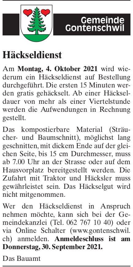 Gontenschwil - Häckseldienst, 4. Oktober