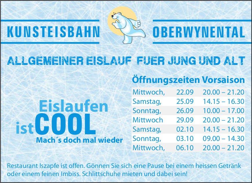 Allgemeiner Eislauf für Jung und Alt, 22. September - 6. Oktober, Kunsteisbahn Oberwynental, Oberkulm