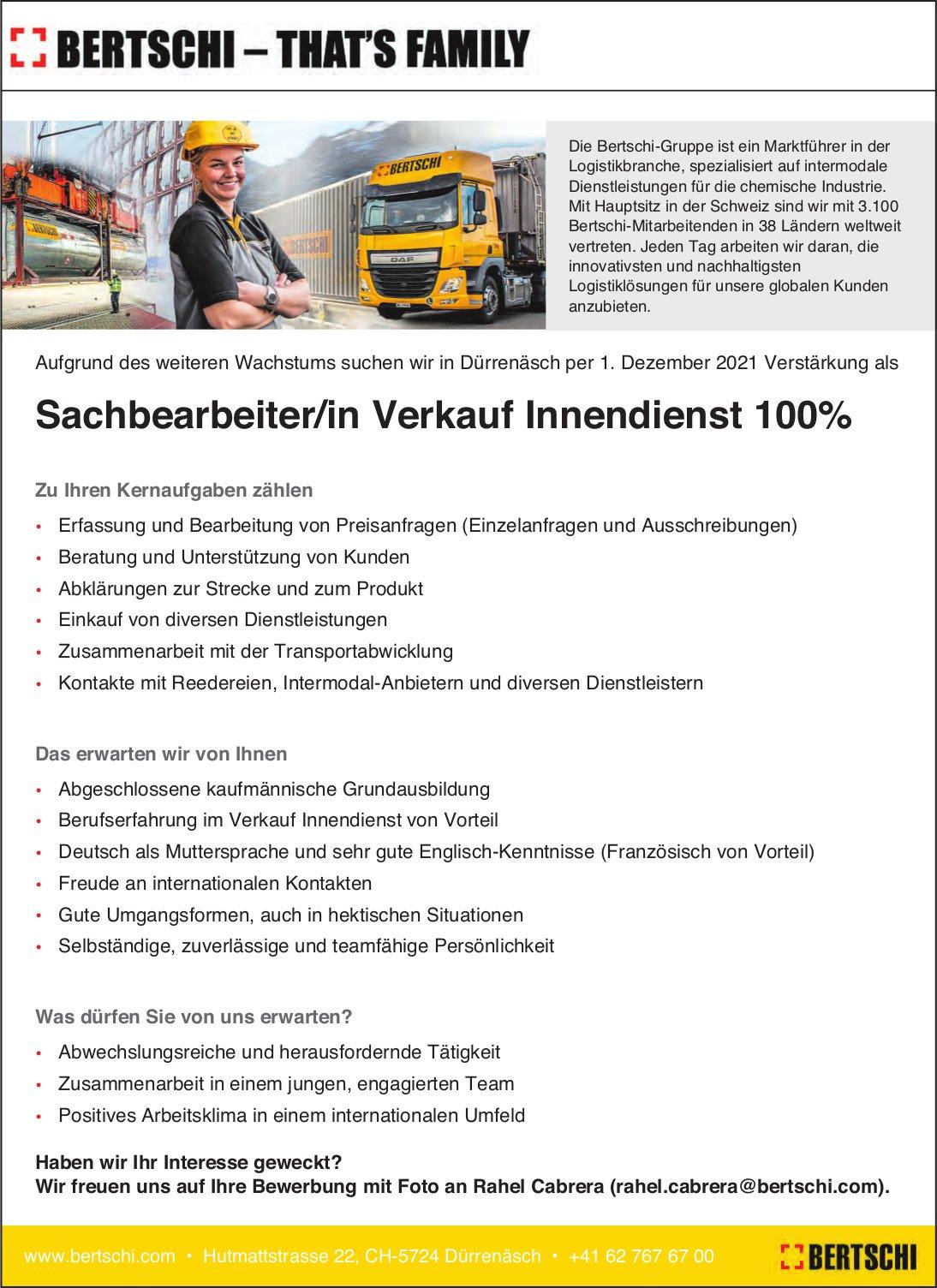 Sachbearbeiter/in Verkauf Innendienst 100%, Bertschi, Dürrenäsch, gesucht